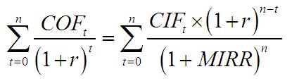 MIRR wzór 1