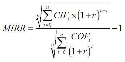 MIRR wzór 2